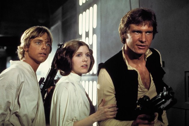 Luke Skywalker, Princess Leia, and Han Solo